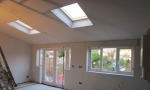 Twice as bright as before – after installation of roof windows, patio doors and knocking down a wall